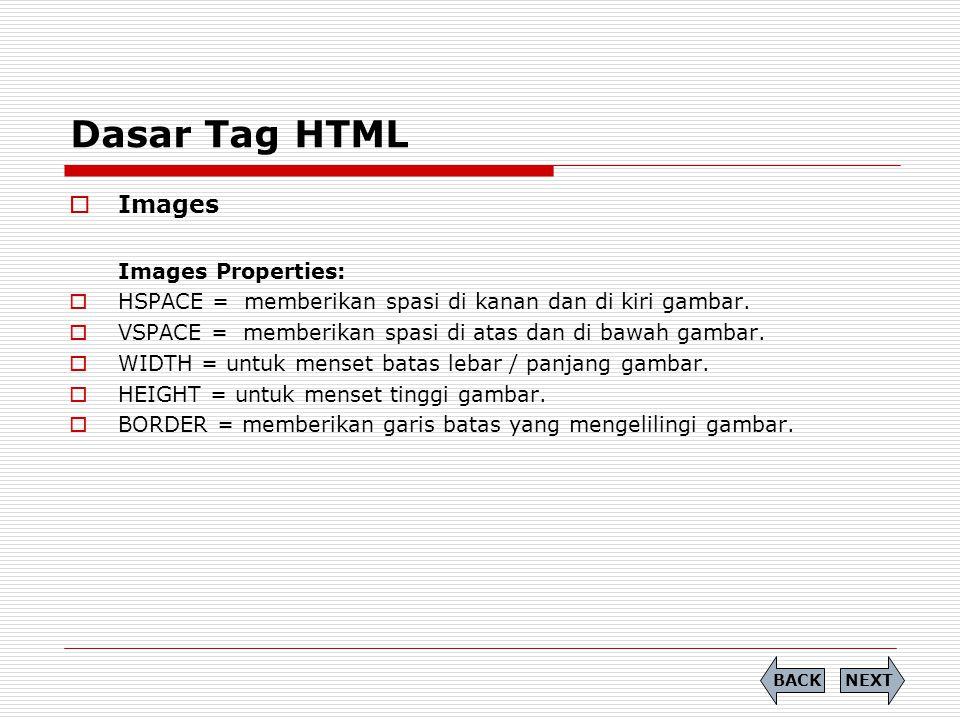 Dasar Tag HTML  Images Images Properties:  HSPACE = memberikan spasi di kanan dan di kiri gambar.  VSPACE = memberikan spasi di atas dan di bawah g