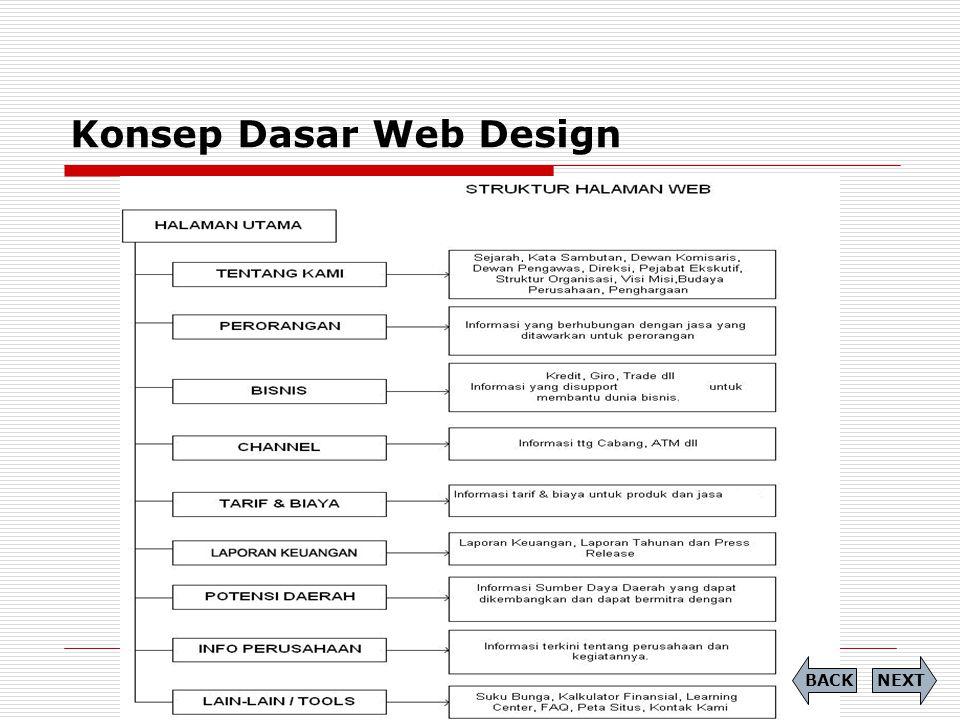 Konsep Dasar Web Design  Desain Halaman Web Dasar Berdasarkan hal diatas selanjutnya kita mulai melakukan desain web dengan menterjemahkan perencanaan ke dalam software desain, keahlian yang mesti diperdalam adalah typografi (kemampuan memilih font yang tepat), tata letak halaman (menguasai kemampuan membagi ruang halaman), pewarnaan (menguasai konsep warna dan pemilihan warna berdasarkan warna perusahaan dan teori pencampuran warna).