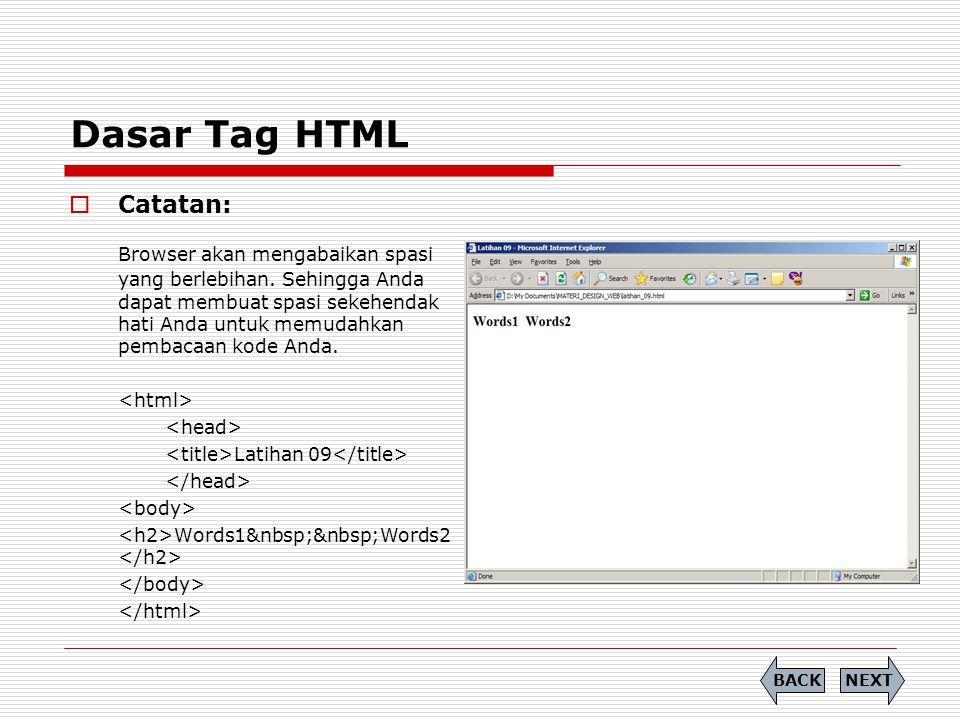 Dasar Tag HTML  Catatan: Browser akan mengabaikan spasi yang berlebihan. Sehingga Anda dapat membuat spasi sekehendak hati Anda untuk memudahkan pemb