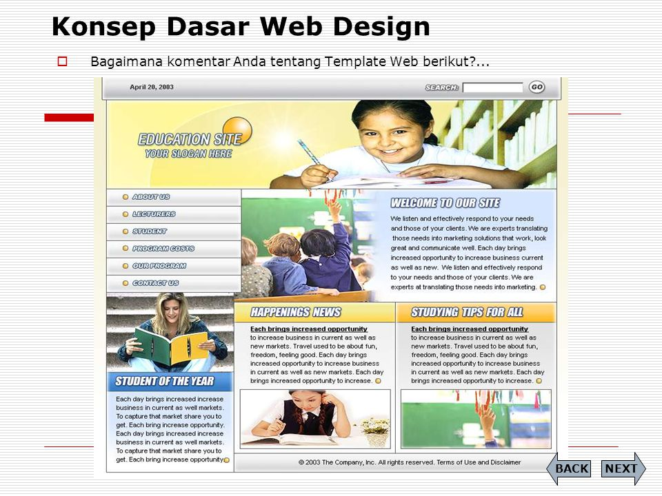 CSS (Cascading Style Sheet)  Soal (9) Tuliskan Source Code dari tampilan berikut dengan menggunakan CSS: PREVIEW NEXTBACK