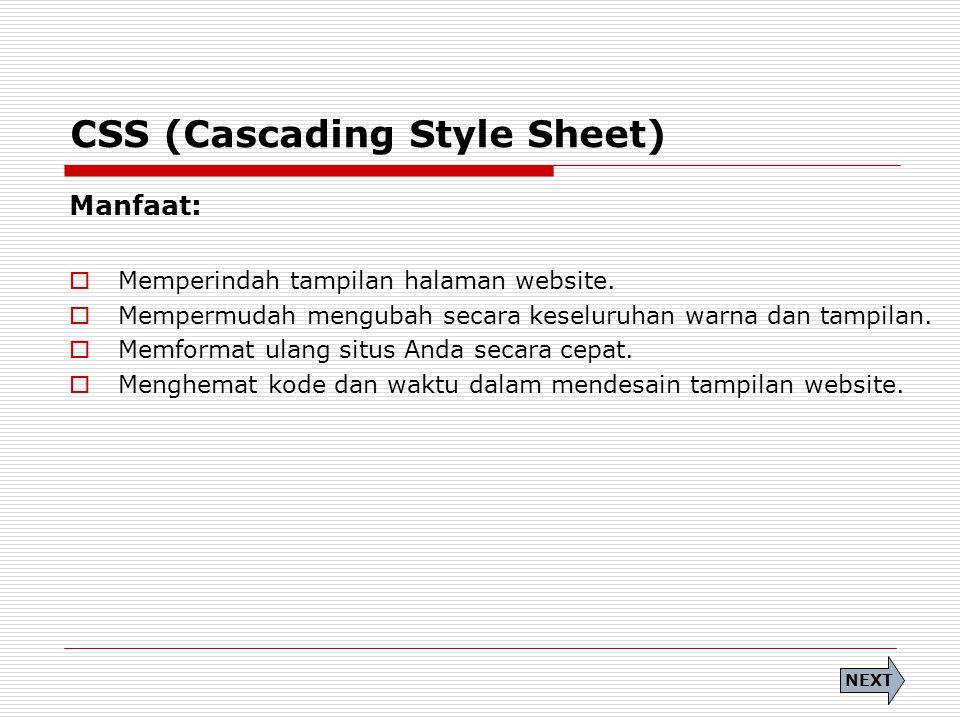 CSS (Cascading Style Sheet) Manfaat:  Memperindah tampilan halaman website.  Mempermudah mengubah secara keseluruhan warna dan tampilan.  Memformat