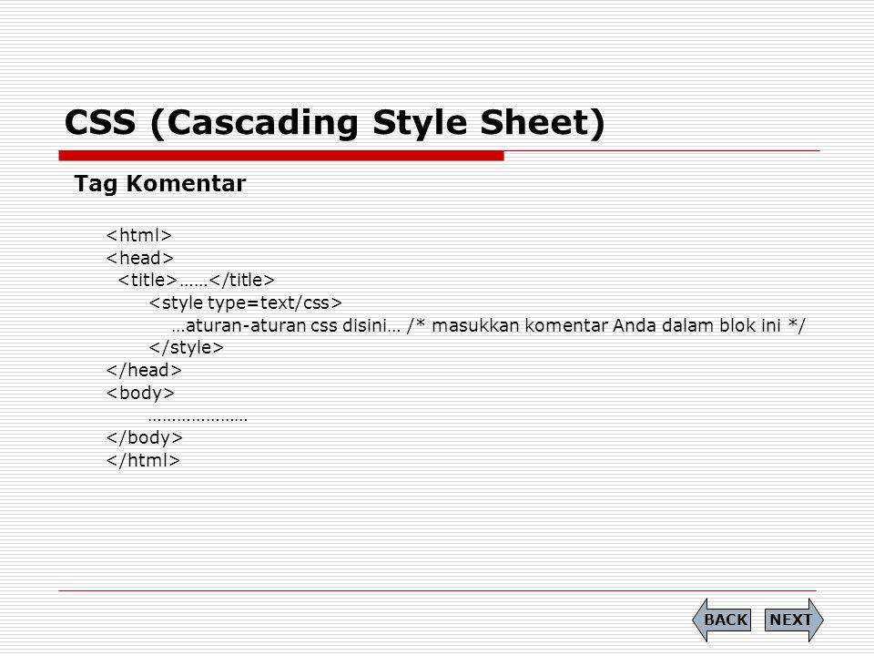 CSS (Cascading Style Sheet) Tag Komentar …… …aturan-aturan css disini… /* masukkan komentar Anda dalam blok ini */ ………………… NEXTBACK