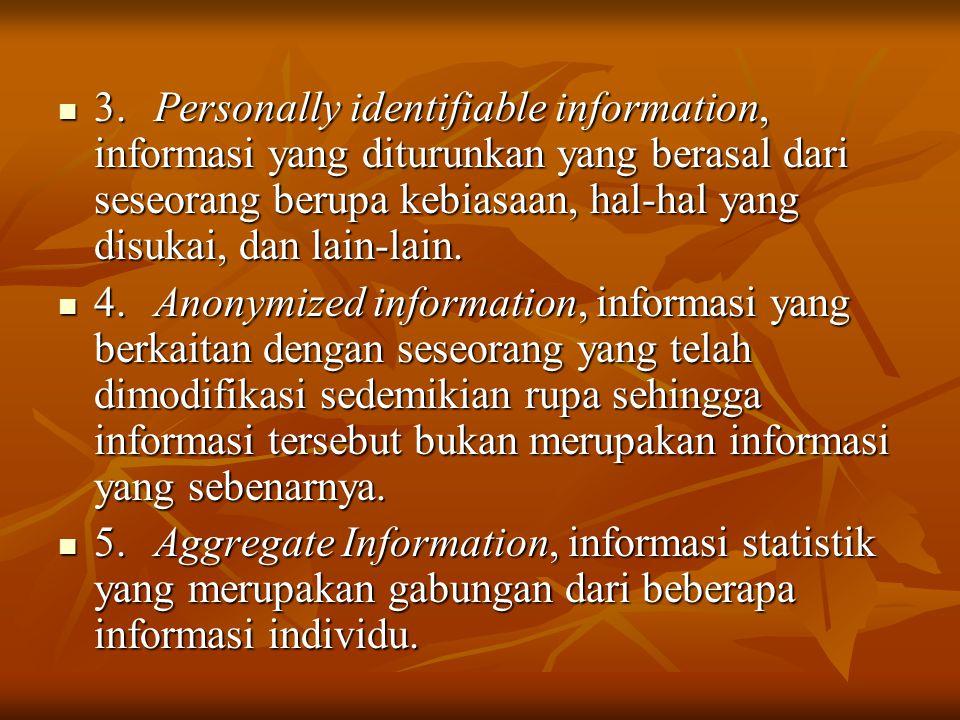 3. Personally identifiable information, informasi yang diturunkan yang berasal dari seseorang berupa kebiasaan, hal-hal yang disukai, dan lain-lain.