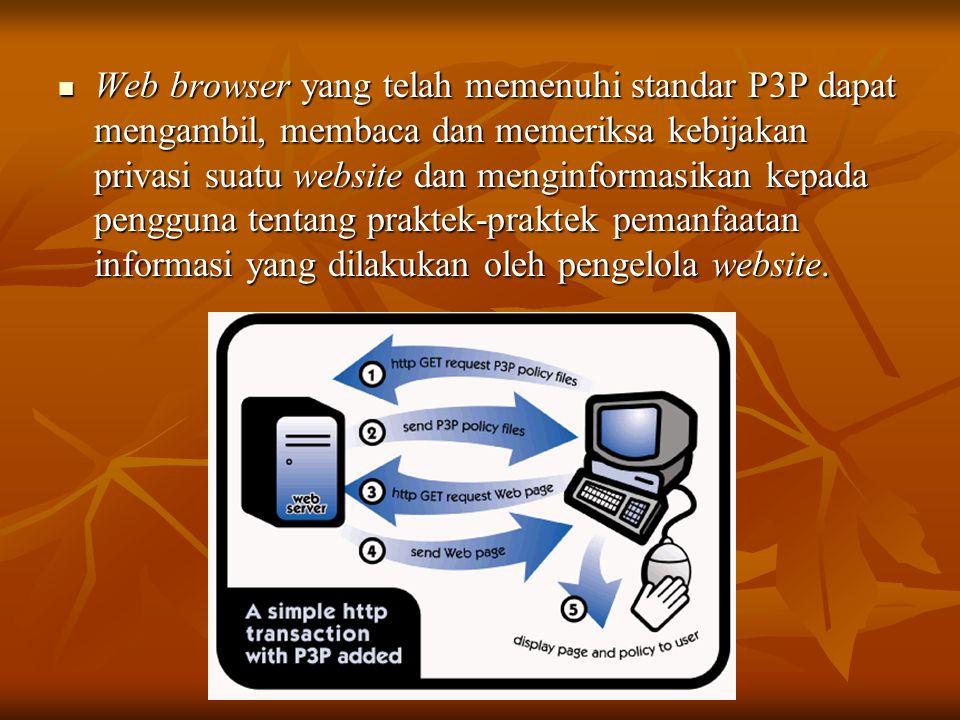  Web browser yang telah memenuhi standar P3P dapat mengambil, membaca dan memeriksa kebijakan privasi suatu website dan menginformasikan kepada pengg