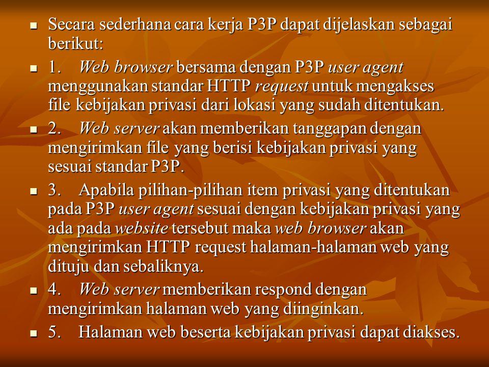  Secara sederhana cara kerja P3P dapat dijelaskan sebagai berikut:  1. Web browser bersama dengan P3P user agent menggunakan standar HTTP request un