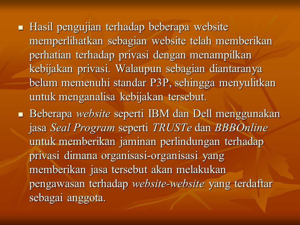  Hasil pengujian terhadap beberapa website memperlihatkan sebagian website telah memberikan perhatian terhadap privasi dengan menampilkan kebijakan p