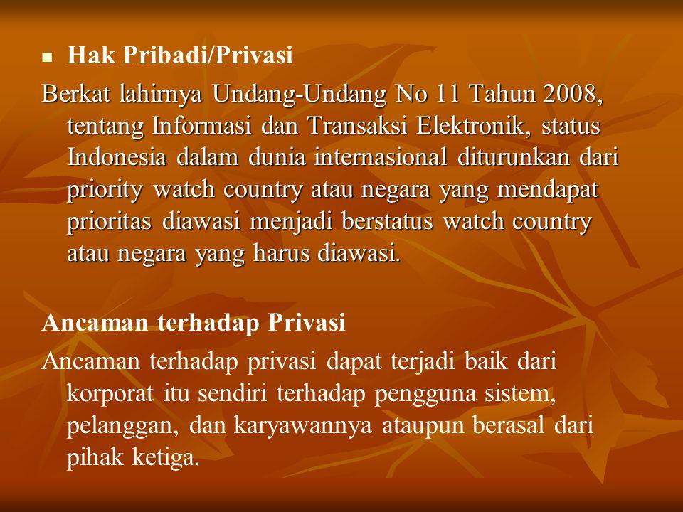   Hak Pribadi/Privasi Berkat lahirnya Undang-Undang No 11 Tahun 2008, tentang Informasi dan Transaksi Elektronik, status Indonesia dalam dunia inter