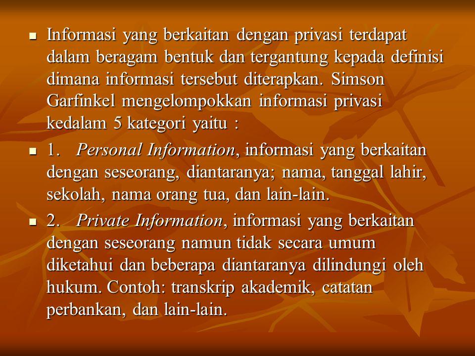  Informasi yang berkaitan dengan privasi terdapat dalam beragam bentuk dan tergantung kepada definisi dimana informasi tersebut diterapkan. Simson Ga