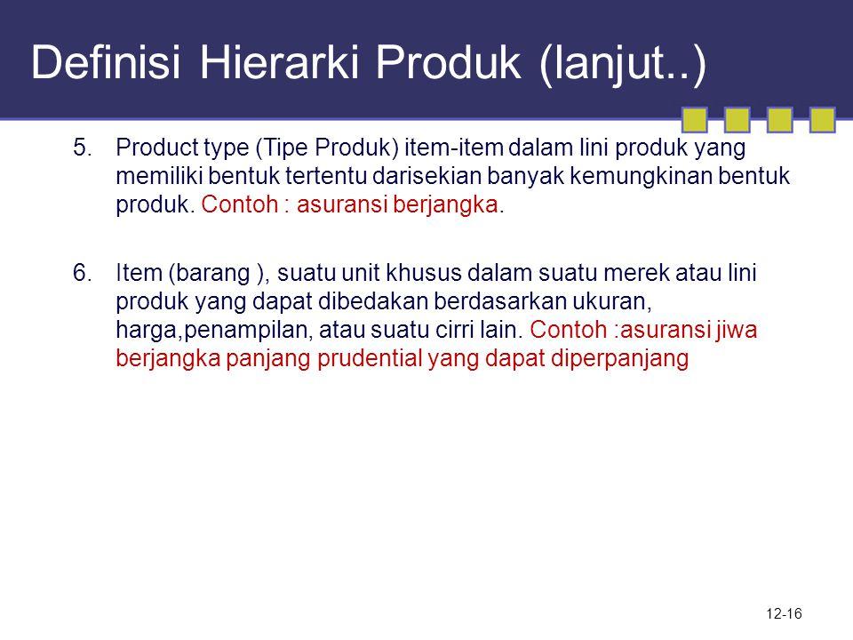Definisi Hierarki Produk (lanjut..) 12-16 5.Product type (Tipe Produk) item-item dalam lini produk yang memiliki bentuk tertentu darisekian banyak kemungkinan bentuk produk.