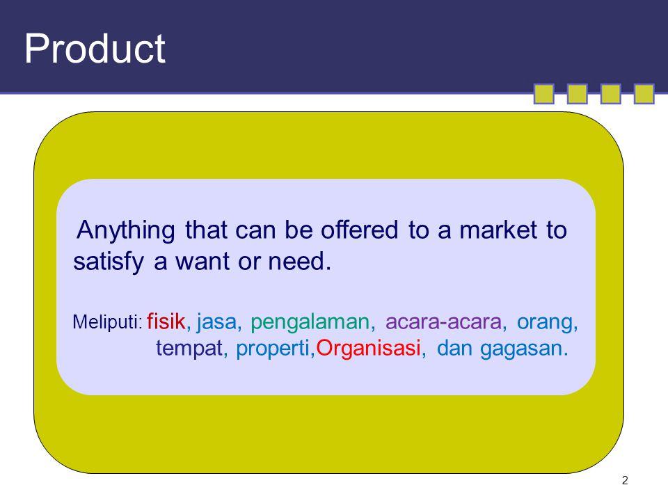 2 Product Anything that can be offered to a market to satisfy a want or need. Meliputi: fisik, jasa, pengalaman, acara-acara, orang, tempat, properti,