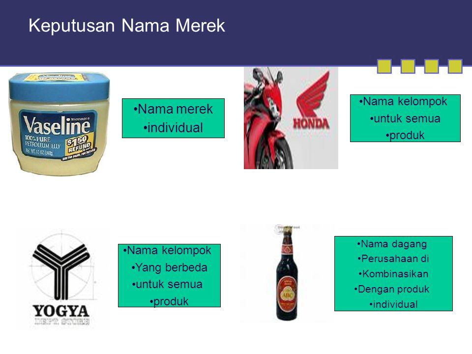 Keputusan Nama Merek •Nama merek •individual •Nama dagang •Perusahaan di •Kombinasikan •Dengan produk •individual •Nama kelompok •Yang berbeda •untuk