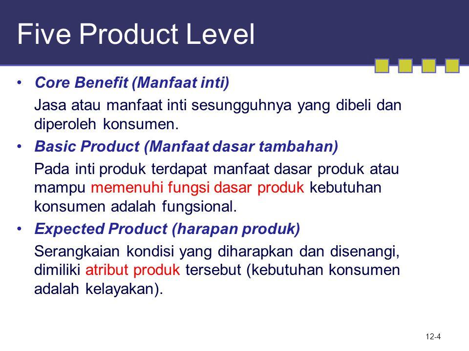 Five Product Level •Core Benefit (Manfaat inti) Jasa atau manfaat inti sesungguhnya yang dibeli dan diperoleh konsumen. •Basic Product (Manfaat dasar