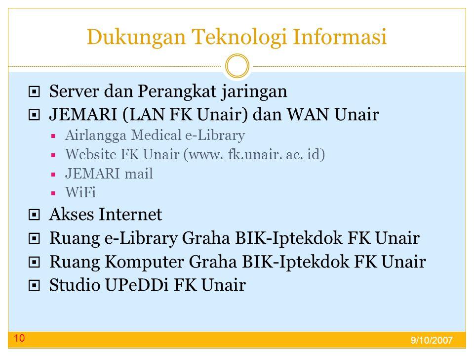 Dukungan Teknologi Informasi  Server dan Perangkat jaringan  JEMARI (LAN FK Unair) dan WAN Unair  Airlangga Medical e-Library  Website FK Unair (www.