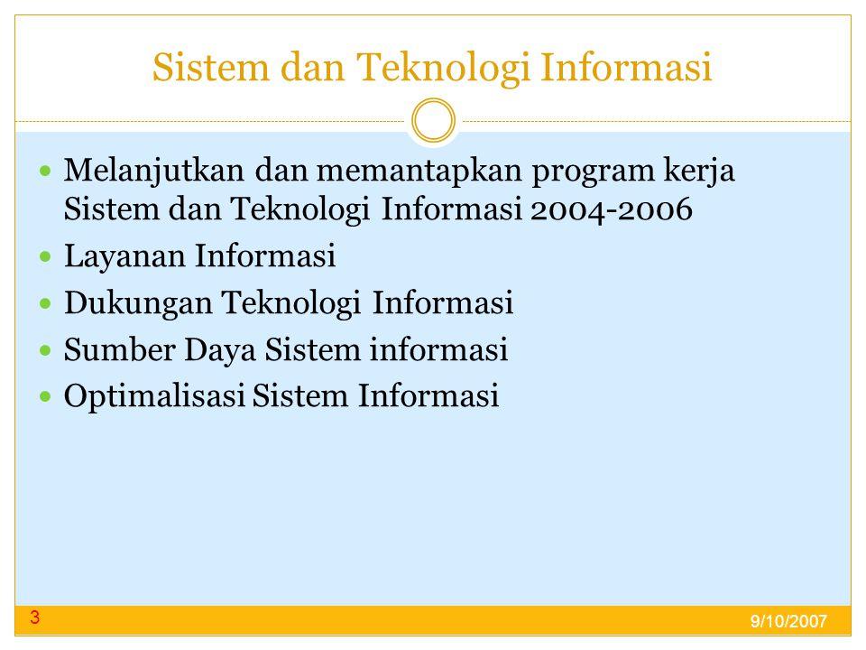 Sistem dan Teknologi Informasi  Melanjutkan dan memantapkan program kerja Sistem dan Teknologi Informasi 2004-2006  Layanan Informasi  Dukungan Teknologi Informasi  Sumber Daya Sistem informasi  Optimalisasi Sistem Informasi 3 9/10/2007