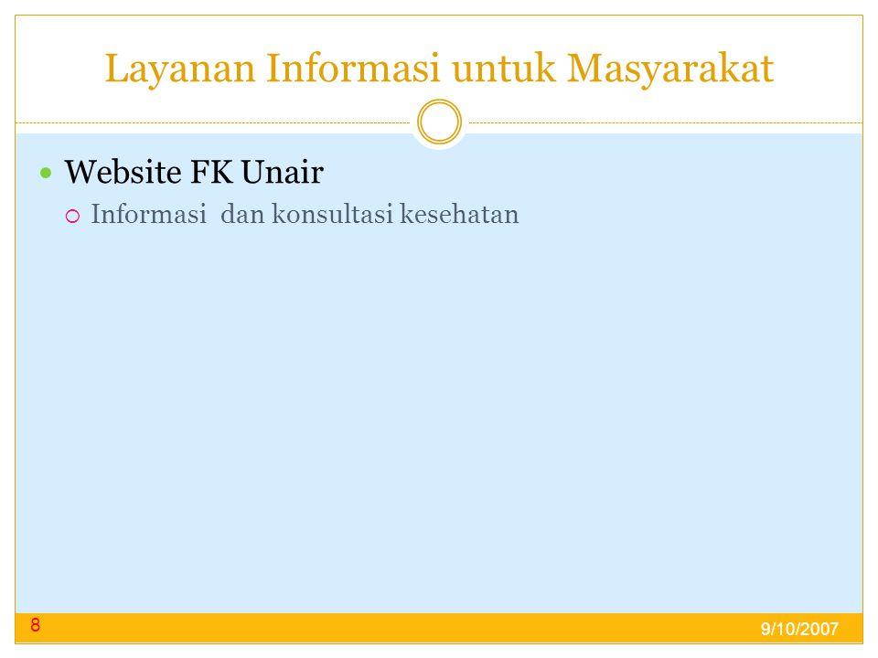 Layanan Informasi untuk Masyarakat  Website FK Unair  Informasi dan konsultasi kesehatan 8 9/10/2007