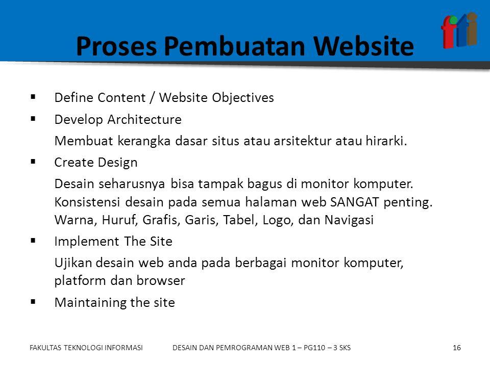 FAKULTAS TEKNOLOGI INFORMASI16DESAIN DAN PEMROGRAMAN WEB 1 – PG110 – 3 SKS Proses Pembuatan Website  Define Content / Website Objectives  Develop Architecture Membuat kerangka dasar situs atau arsitektur atau hirarki.