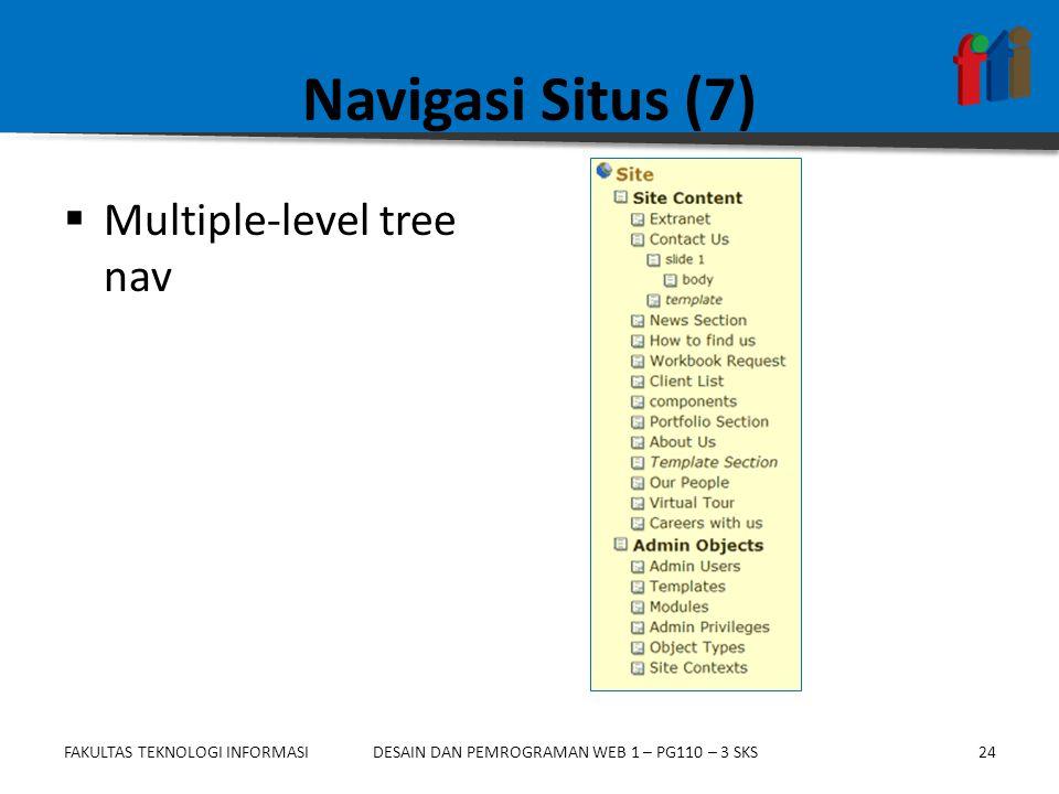 FAKULTAS TEKNOLOGI INFORMASI24DESAIN DAN PEMROGRAMAN WEB 1 – PG110 – 3 SKS Navigasi Situs (7)  Multiple-level tree nav