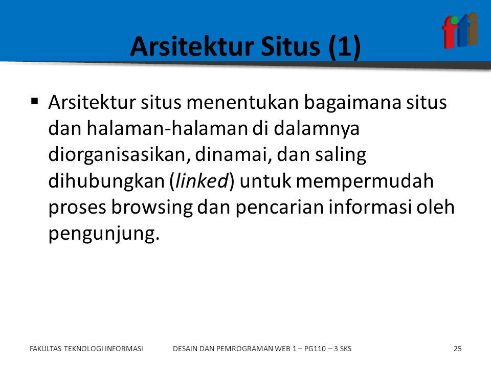 FAKULTAS TEKNOLOGI INFORMASI25DESAIN DAN PEMROGRAMAN WEB 1 – PG110 – 3 SKS Arsitektur Situs (1)  Arsitektur situs menentukan bagaimana situs dan hala