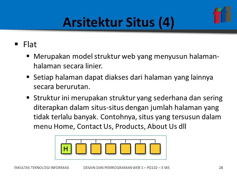 FAKULTAS TEKNOLOGI INFORMASI28DESAIN DAN PEMROGRAMAN WEB 1 – PG110 – 3 SKS Arsitektur Situs (4)  Flat  Merupakan model struktur web yang menyusun ha