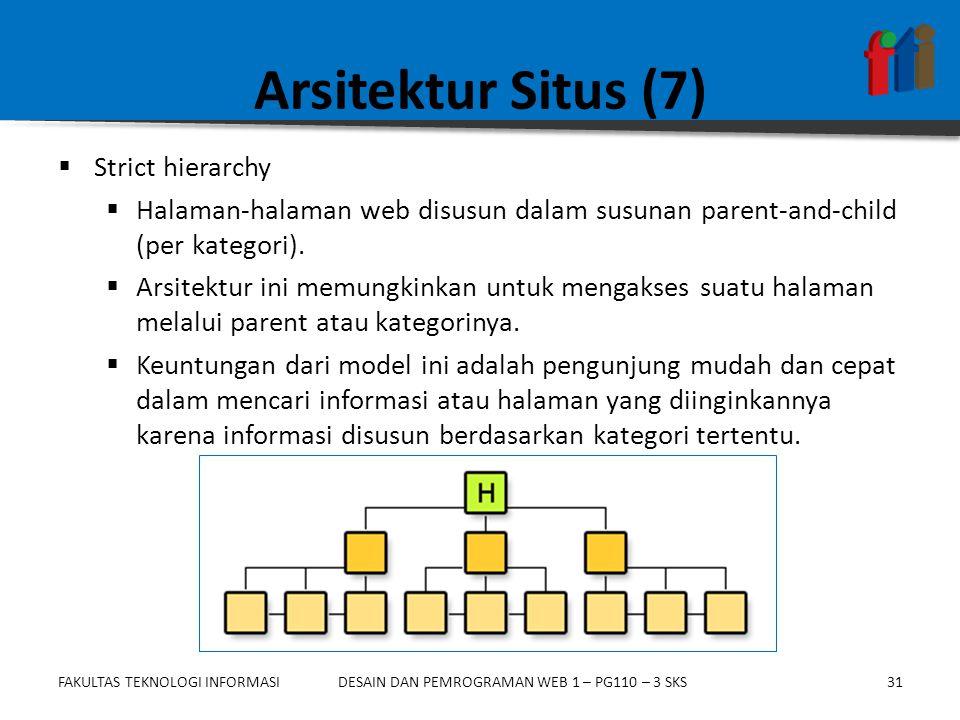 FAKULTAS TEKNOLOGI INFORMASI31DESAIN DAN PEMROGRAMAN WEB 1 – PG110 – 3 SKS Arsitektur Situs (7)  Strict hierarchy  Halaman-halaman web disusun dalam