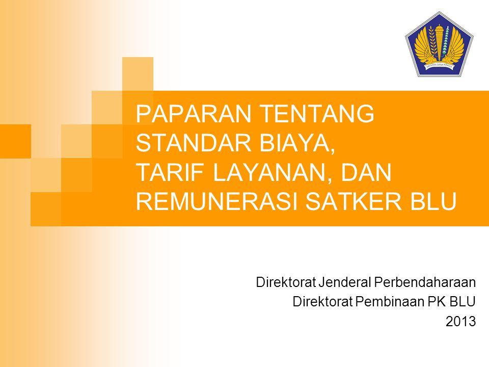 PAPARAN TENTANG STANDAR BIAYA, TARIF LAYANAN, DAN REMUNERASI SATKER BLU Direktorat Jenderal Perbendaharaan Direktorat Pembinaan PK BLU 2013