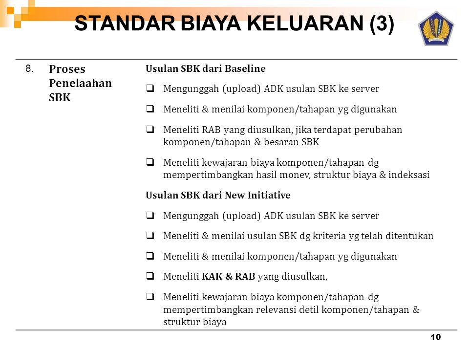 STANDAR BIAYA KELUARAN (3) 8. Proses Penelaahan SBK Usulan SBK dari Baseline  Mengunggah (upload) ADK usulan SBK ke server  Meneliti & menilai kompo