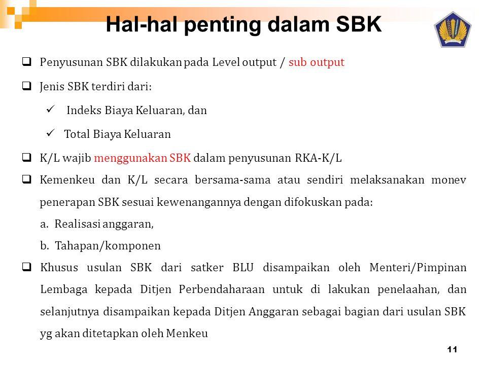  Penyusunan SBK dilakukan pada Level output / sub output  Jenis SBK terdiri dari:  Indeks Biaya Keluaran, dan  Total Biaya Keluaran  K/L wajib menggunakan SBK dalam penyusunan RKA-K/L  Kemenkeu dan K/L secara bersama-sama atau sendiri melaksanakan monev penerapan SBK sesuai kewenangannya dengan difokuskan pada: a.