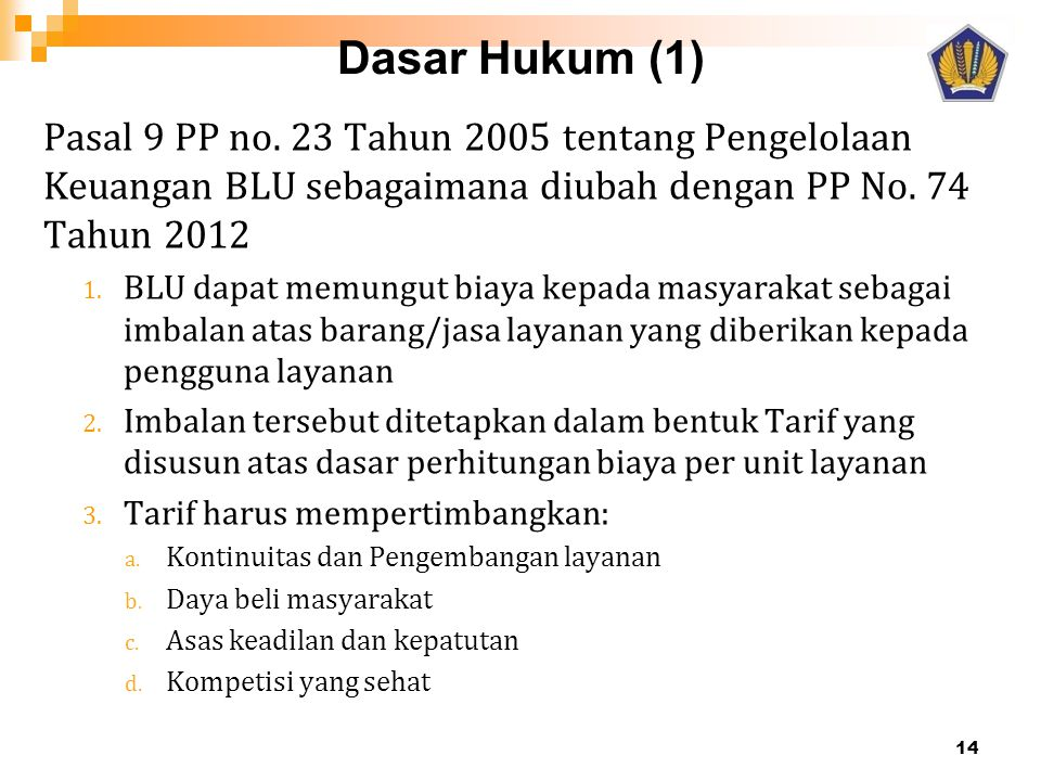 Dasar Hukum (1) Pasal 9 PP no. 23 Tahun 2005 tentang Pengelolaan Keuangan BLU sebagaimana diubah dengan PP No. 74 Tahun 2012 1. BLU dapat memungut bia
