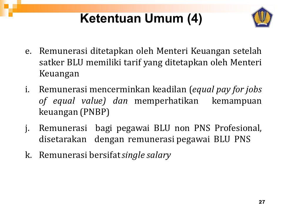 Ketentuan Umum (4) 27 e.Remunerasi ditetapkan oleh Menteri Keuangan setelah satker BLU memiliki tarif yang ditetapkan oleh Menteri Keuangan i.Remunera