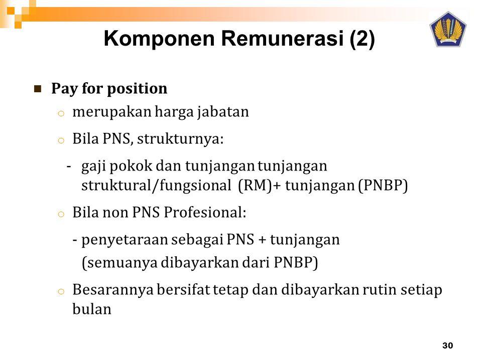  Pay for position o merupakan harga jabatan o Bila PNS, strukturnya: - gaji pokok dan tunjangan tunjangan struktural/fungsional (RM)+ tunjangan (PNBP) o Bila non PNS Profesional: - penyetaraan sebagai PNS + tunjangan (semuanya dibayarkan dari PNBP) o Besarannya bersifat tetap dan dibayarkan rutin setiap bulan Komponen Remunerasi (2) 30