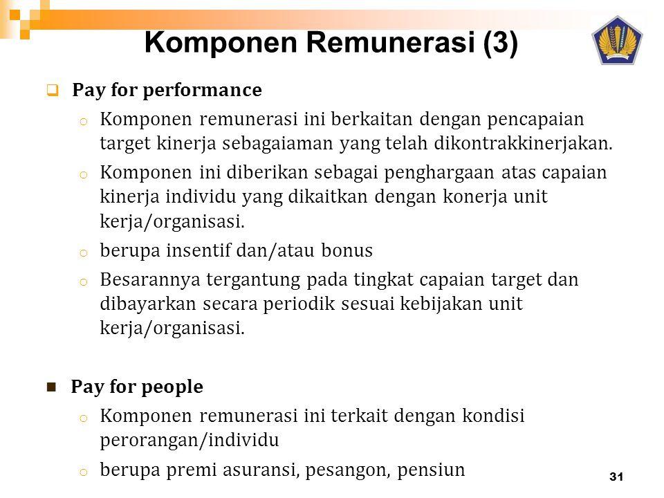  Pay for performance o Komponen remunerasi ini berkaitan dengan pencapaian target kinerja sebagaiaman yang telah dikontrakkinerjakan. o Komponen ini
