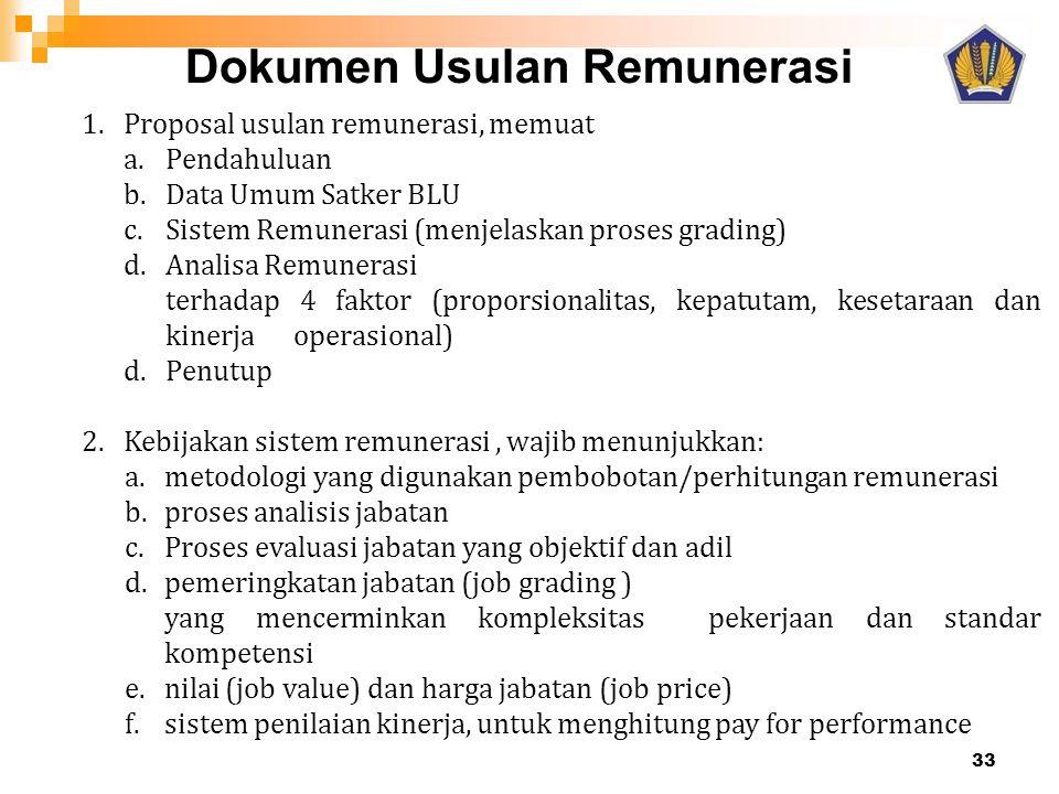 Dokumen Usulan Remunerasi 33 1.Proposal usulan remunerasi, memuat a. Pendahuluan b.Data Umum Satker BLU c.Sistem Remunerasi (menjelaskan proses gradin