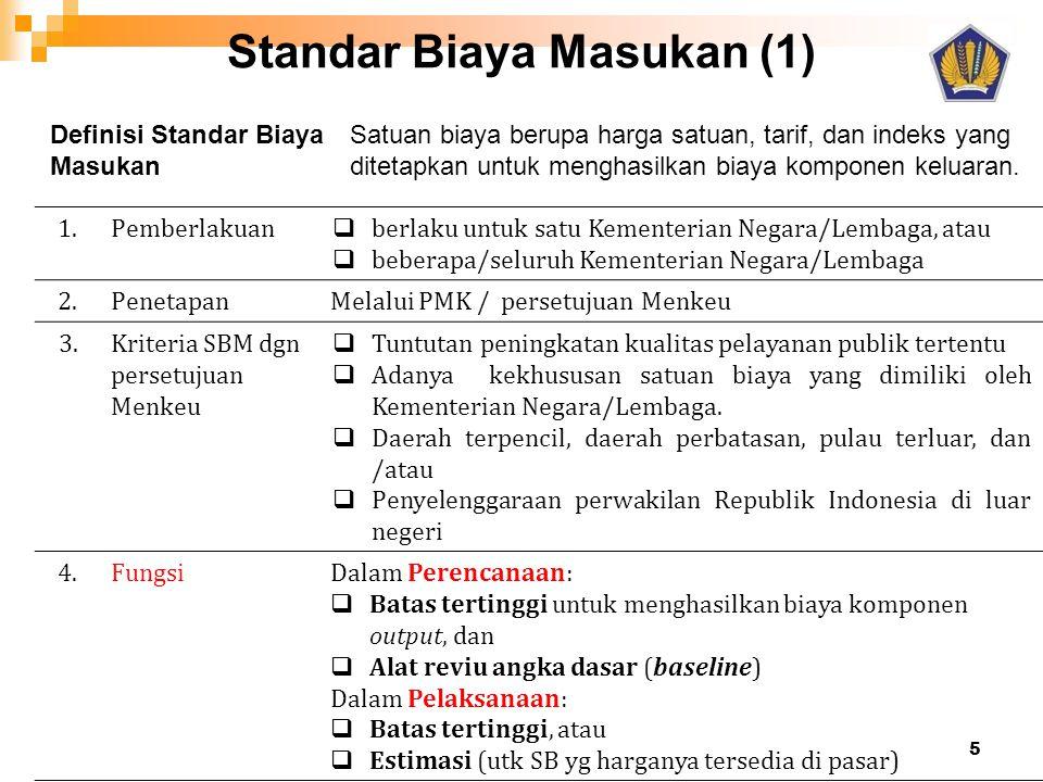 Standar Biaya Masukan (1) 1.Pemberlakuan  berlaku untuk satu Kementerian Negara/Lembaga, atau  beberapa/seluruh Kementerian Negara/Lembaga 2.Penetap