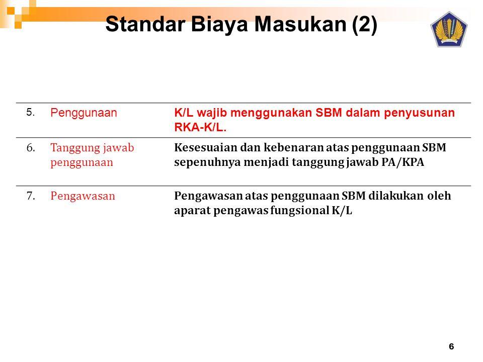 Standar Biaya Masukan (2) 5. PenggunaanK/L wajib menggunakan SBM dalam penyusunan RKA-K/L. 6.Tanggung jawab penggunaan Kesesuaian dan kebenaran atas p