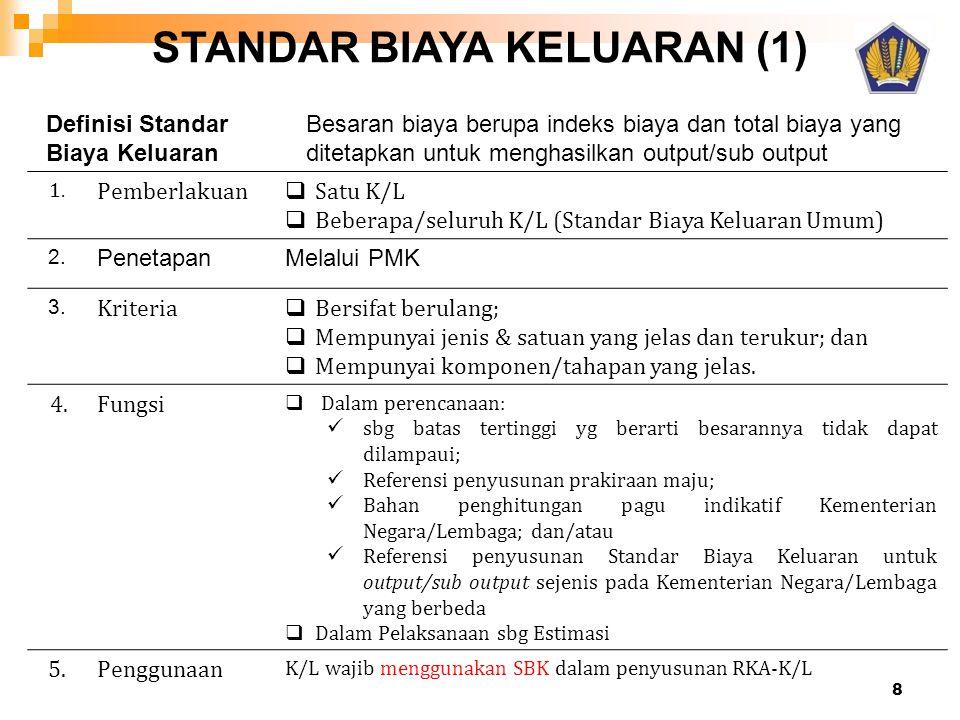 STANDAR BIAYA KELUARAN (1) 1. Pemberlakuan  Satu K/L  Beberapa/seluruh K/L (Standar Biaya Keluaran Umum) 2. PenetapanMelalui PMK 3. Kriteria  Bersi