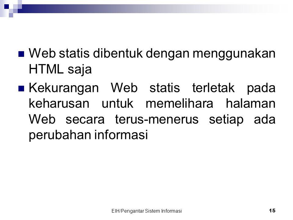EIH/Pengantar Sistem Informasi 15  Web statis dibentuk dengan menggunakan HTML saja  Kekurangan Web statis terletak pada keharusan untuk memelihara halaman Web secara terus-menerus setiap ada perubahan informasi