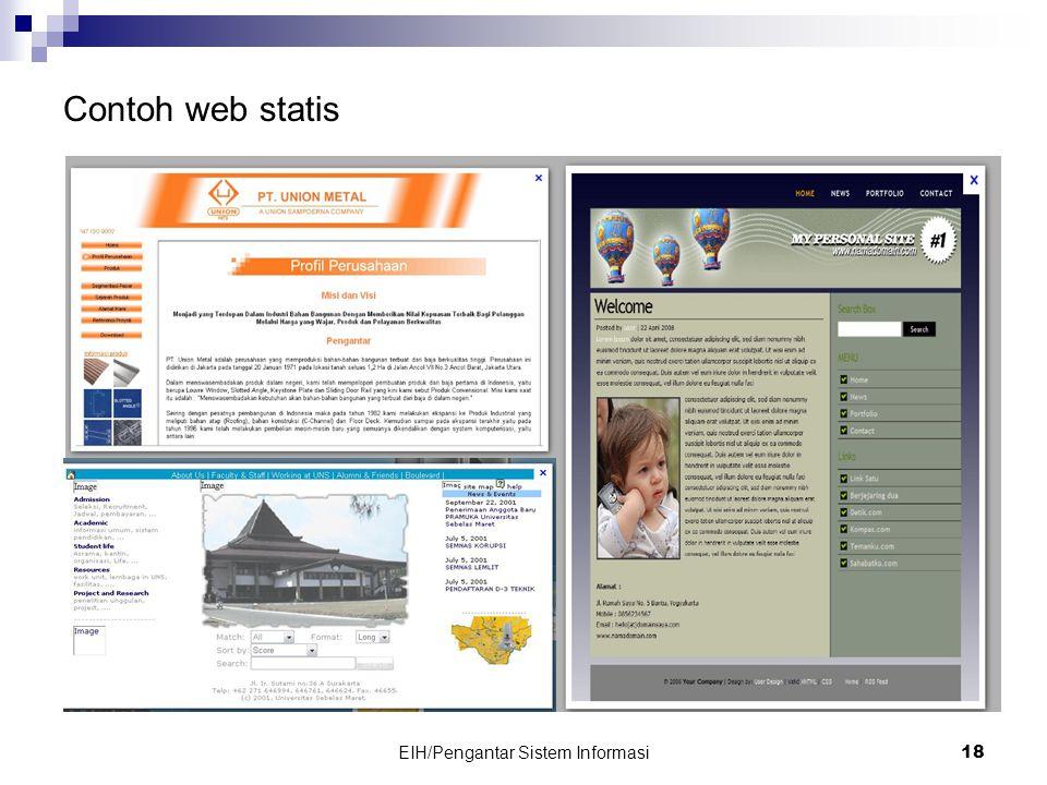 EIH/Pengantar Sistem Informasi 18 Contoh web statis