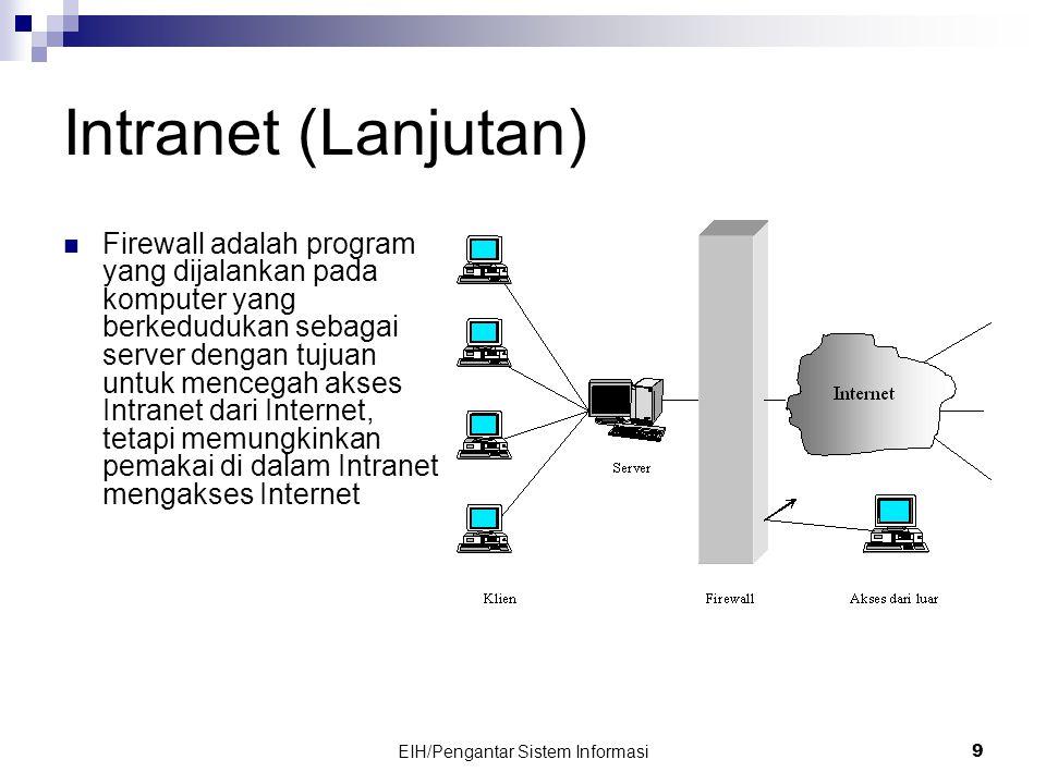 EIH/Pengantar Sistem Informasi 9 Intranet (Lanjutan)  Firewall adalah program yang dijalankan pada komputer yang berkedudukan sebagai server dengan tujuan untuk mencegah akses Intranet dari Internet, tetapi memungkinkan pemakai di dalam Intranet mengakses Internet