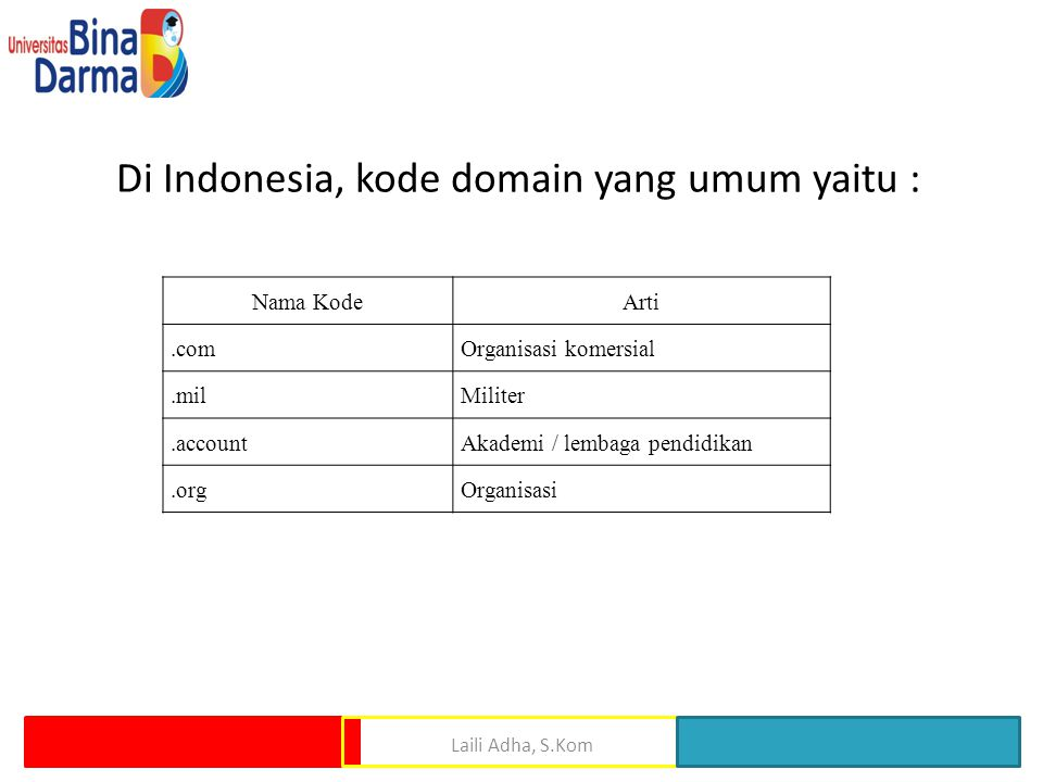 Di Indonesia, kode domain yang umum yaitu : Laili Adha, S.Kom Nama KodeArti.comOrganisasi komersial.milMiliter.accountAkademi / lembaga pendidikan.orgOrganisasi