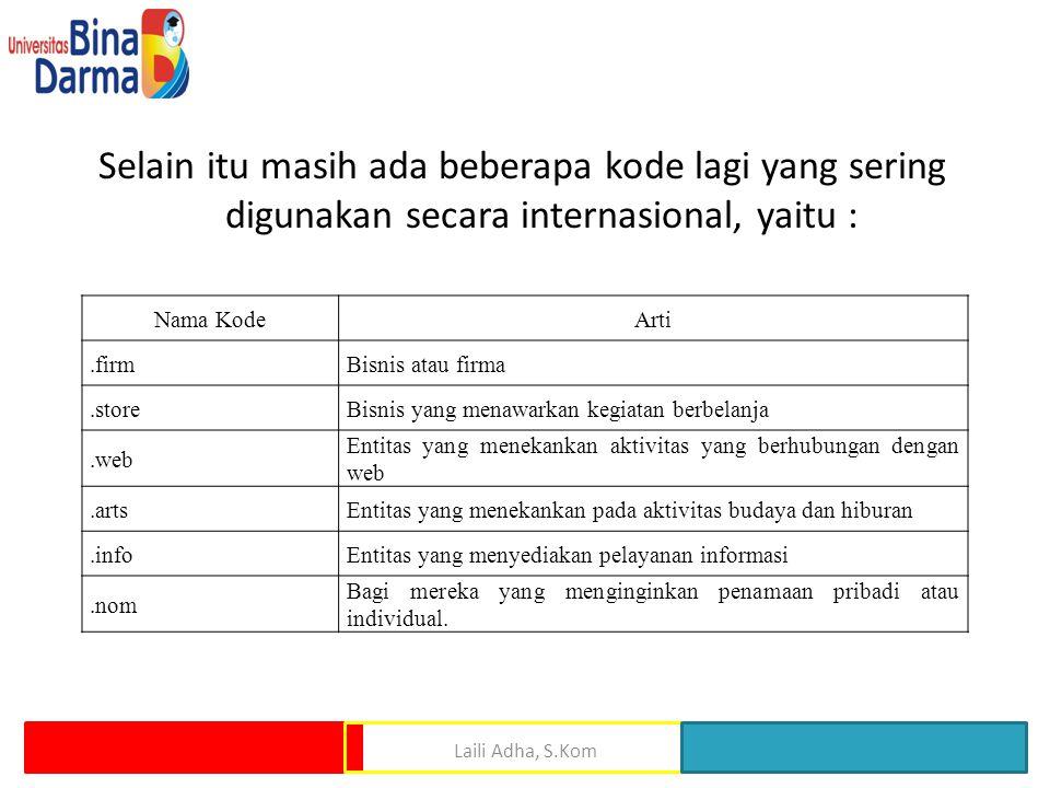 Selain itu masih ada beberapa kode lagi yang sering digunakan secara internasional, yaitu : Laili Adha, S.Kom Nama KodeArti.firmBisnis atau firma.stor