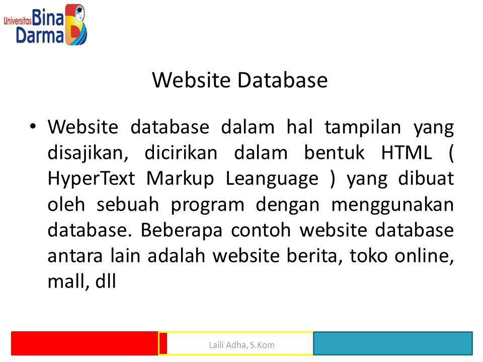 Website Database • Website database dalam hal tampilan yang disajikan, dicirikan dalam bentuk HTML ( HyperText Markup Leanguage ) yang dibuat oleh sebuah program dengan menggunakan database.