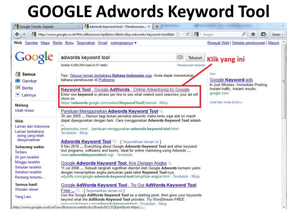 GOOGLE Adwords Keyword Tool