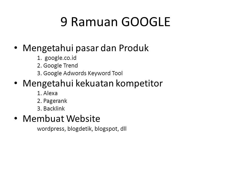 9 Ramuan GOOGLE • Mengetahui pasar dan Produk 1. google.co.id 2. Google Trend 3. Google Adwords Keyword Tool • Mengetahui kekuatan kompetitor 1. Alexa