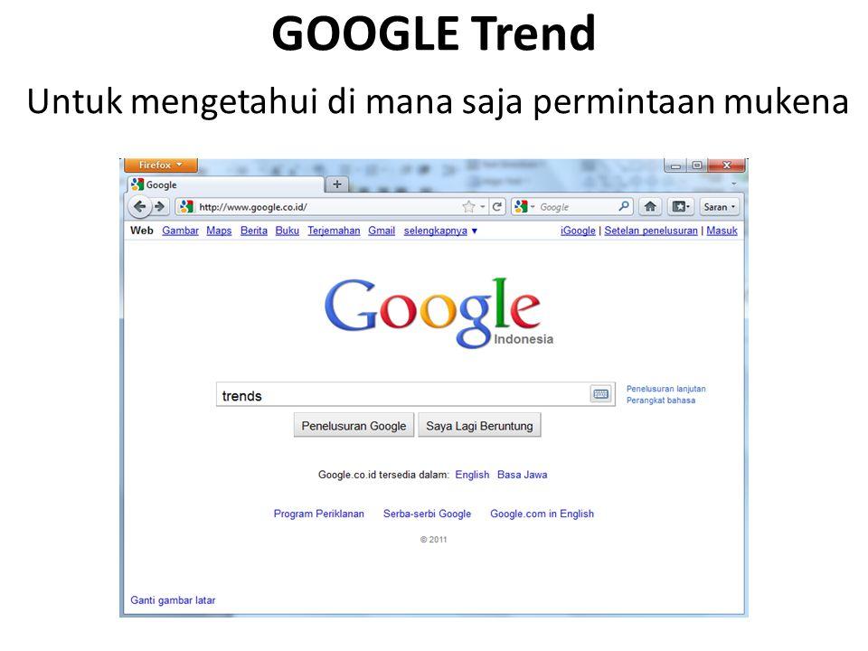 GOOGLE Trend Untuk mengetahui di mana saja permintaan mukena
