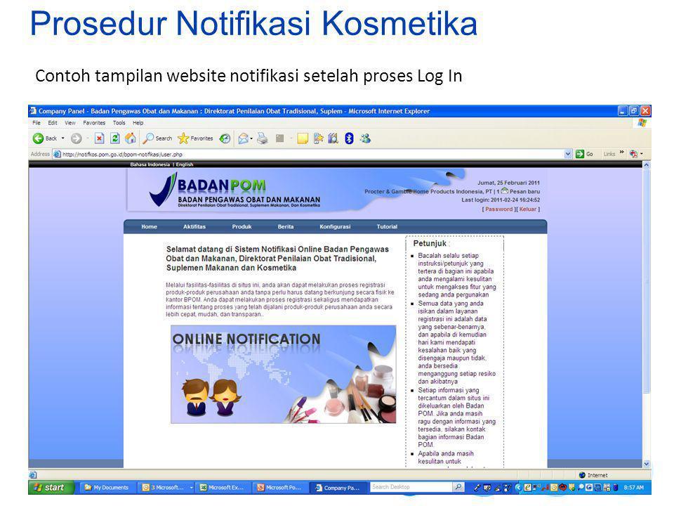 Contoh tampilan website notifikasi setelah proses Log In Prosedur Notifikasi Kosmetika