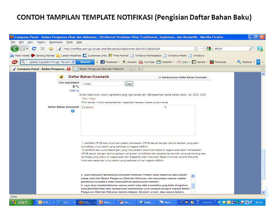 CONTOH TAMPILAN TEMPLATE NOTIFIKASI (Pengisian Daftar Bahan Baku)