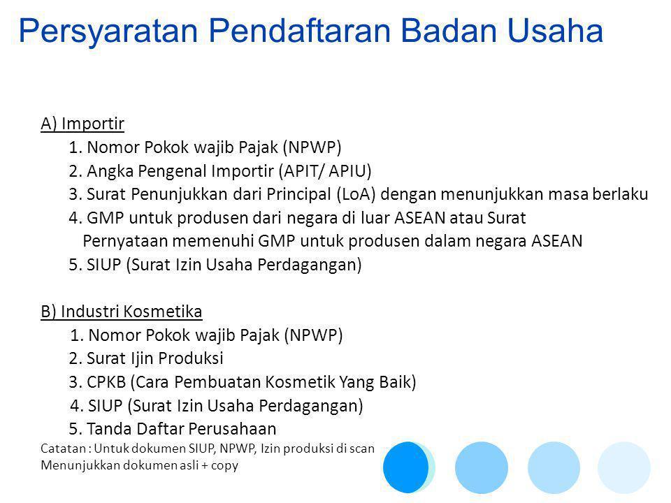 Persyaratan Pendaftaran Badan Usaha A) Importir 1.