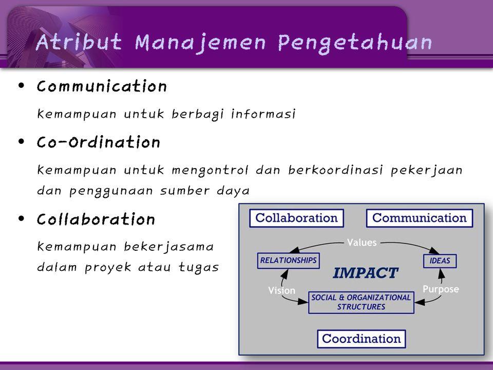 Atribut Manajemen Pengetahuan • Communication Kemampuan untuk berbagi informasi • Co-Ordination Kemampuan untuk mengontrol dan berkoordinasi pekerjaan dan penggunaan sumber daya • Collaboration Kemampuan bekerjasama dalam proyek atau tugas