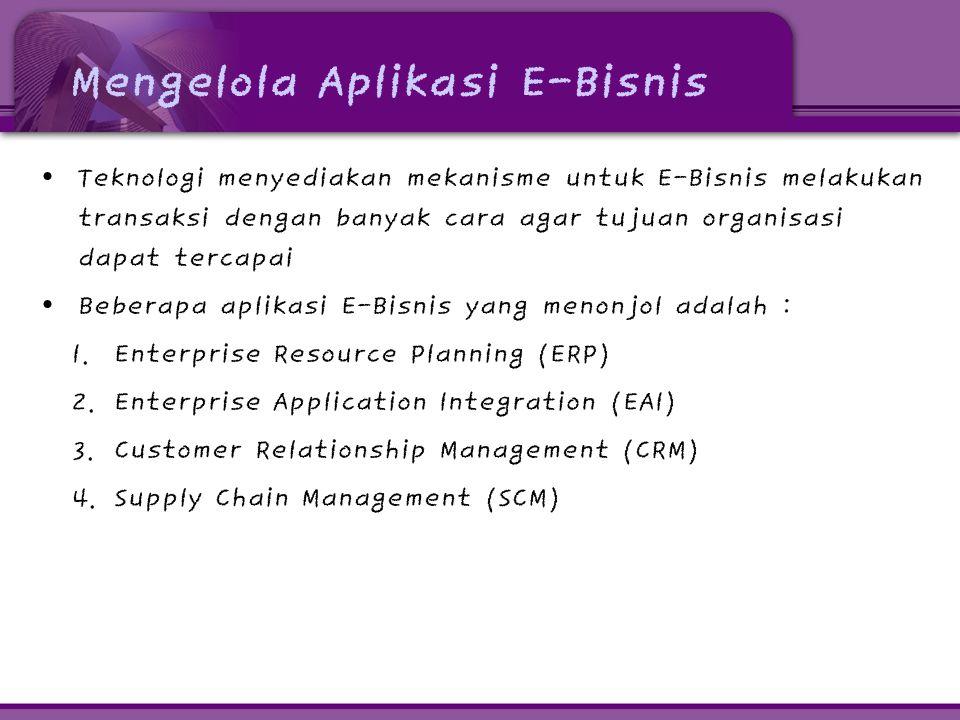 Mengelola Aplikasi E-Bisnis • Teknologi menyediakan mekanisme untuk E-Bisnis melakukan transaksi dengan banyak cara agar tujuan organisasi dapat tercapai • Beberapa aplikasi E-Bisnis yang menonjol adalah : 1.