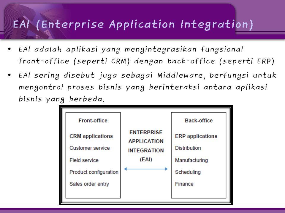 EAI (Enterprise Application Integration) • EAI adalah aplikasi yang mengintegrasikan fungsional front-office (seperti CRM) dengan back-office (seperti ERP) • EAI sering disebut juga sebagai Middleware, berfungsi untuk mengontrol proses bisnis yang berinteraksi antara aplikasi bisnis yang berbeda.
